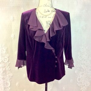 Alex Evenings Romantic Plum Velvet Ruffled Blouse